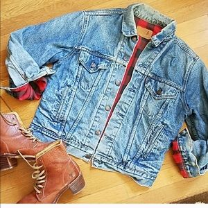 Vintage Levi's Buffalo Plaid lined jean jacket